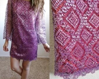 80s Retro Metallic Lace Mini Party Dress Size Small// Vintage Aztec Tribal Print Glitter Shift Dress