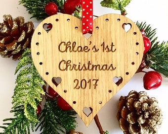 Babys First Christmas Decoration, First 1st Christmas decoration, First 1st Christmas Ornament, Christmas Tree Ornament, Personalised 8CD