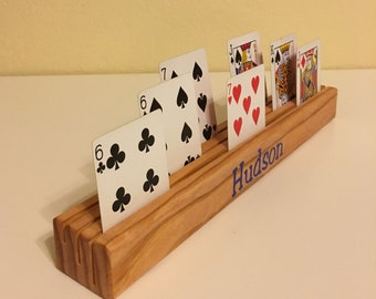 Two Personalized Playing Card Holders with vinyl or engraved names