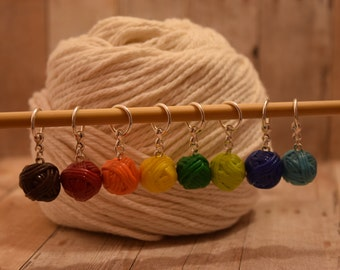 Yarn Ball Snag Free Stitch Marker - Polymer Clay Yarn Ball - Yarn Progress Keeper