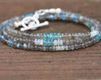 Long Natural Canadian Labradorite , Blue Topaz ,Apatite and Opal Necklace or Layered Bracelet Solid Sterling Silver , 4th 14th Anniversary
