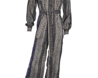 Vintage 1970s Harrods Striped Blue White Jumpsuit