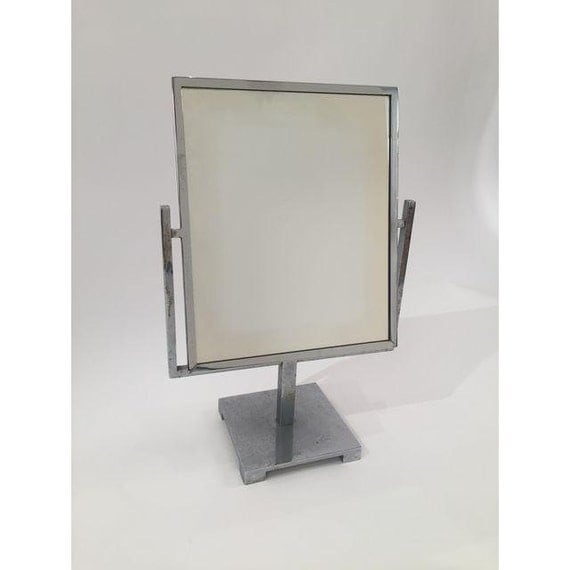 Vintage Art Deco Double Side Chrome Vanity Mirror on a Stand