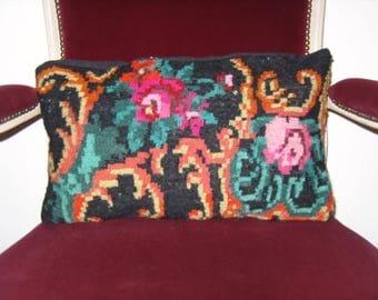 Rose kilim pillow, turkish kilim pillow, coussin kilim, handmade kilim pillow, decoratide pillow