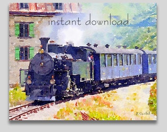 Steam Locomotive Train Watercolor Painting, Instant Download, Digital Art Print, Wall Art Downloadable (1000)