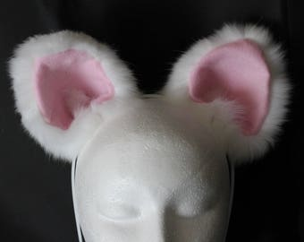 White Cat Ear Headband Made Of Recycled Real Fox Fur