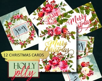 Printable Christmas Cards with Watercolor florals and Holly Steams Set of 12, 5x7' Printables Wall Decor Art
