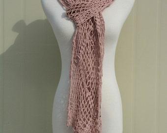 Dusty Pink Crochet Flower Long Scarf Neckwarmers
