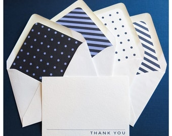 Personal Stationery - Professional Note Cards - Blue Stipes and Polka Dot Stationery - Variety Pack