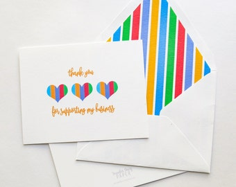 Rodan and Fields Thank You Cards Set of 10- Foldover Card - Business Support - Striped Hearts 1