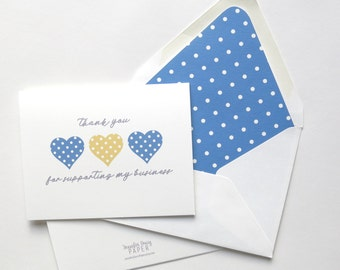 Chloe and Isabel Thank You Cards - Thank You for Supporting My Business - Referral Thank You - Three Hearts Polka Dot