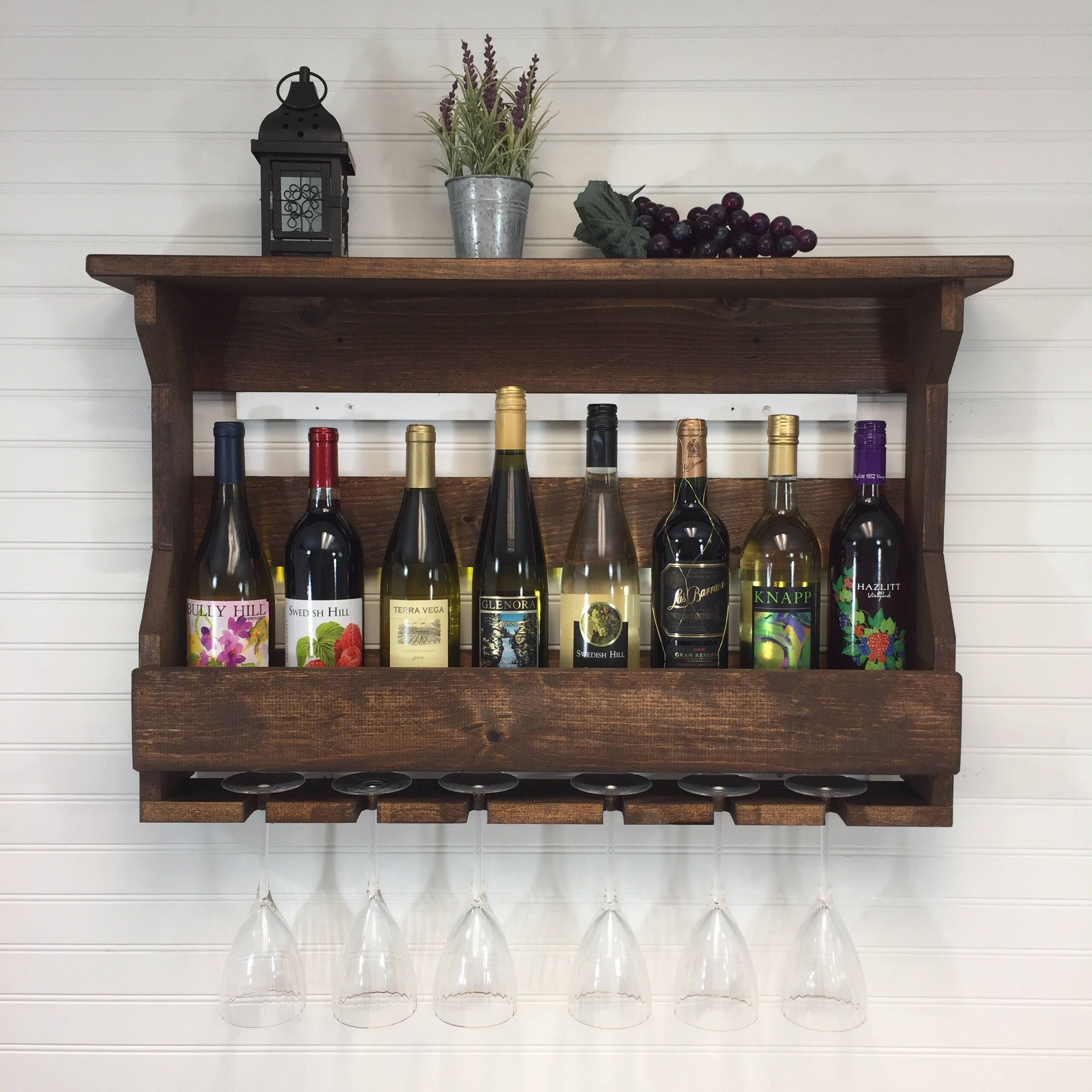 Wooden Wine Rack | Wall Mounted Wine Rack | Handcrafted Rustic ...
