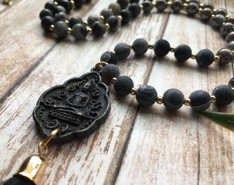 Men's Mala Necklace - Mala Necklace - Mens Mala Necklace - Yoga Necklace - Prayer Beads - Black Mala Necklace - Mala 0 Men's Necklace - Yoga