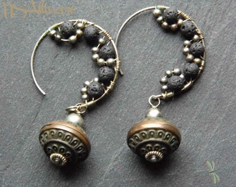 Lava Hoop Earrings - Gemstone Dangle Organic Lunar Black Ethnic Wirework Wirewrap