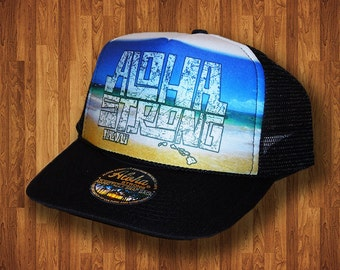 Aloha Strong Hat Hawaiian Beach Block Trucker Hat MADE IN HAWAII