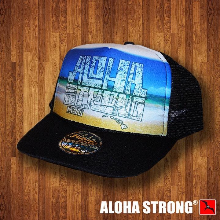 dfe2a90eb9d Aloha Strong Hat Hawaiian Beach Block Trucker Hat MADE IN HAWAII