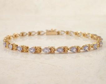 14K Yellow Gold Tanzanite Bracelet, Yellow Gold Bracelet, Tanzanite Bracelet, Vintage Bracelet