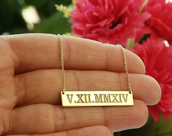 Roman Numeral Necklace-Personalized  Bar Necklace-Bar Necklace- Bar Necklace-Personalized 14K Gold Filled-Silver Necklace