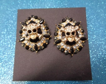 rhinestone skull earrings