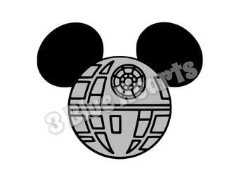 Death Star Star Wars Mickey Head, Death Star Mickey Head, Star Wars SVG dxf pdf Studio, Death Star, Disney Svg dxf pdf Studio