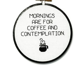 Stranger Things cross stitch - Mornings are for coffee and contemplation