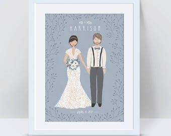 Wedding Portrait Illustration, Custom Wedding Portrait, Wedding Guest Book, Custom Wedding Portrait 1st Anniversary Gift for Husband Cartoon