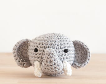 rattle, crochet, animal, animal head, elephant, grey, cute, happy, lovely, toy, happy, crochet, handmade, baby, gift, newborn, organic wool