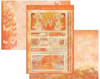 Orange Skies Topper Set - Greeting Card Topper - Foiled Butterfly Card Kit - Orange Butterfly Card Element - Foil Orange Butterfly Topper