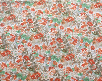 Vintage 1960s Floral Fabric Remnant - Orange & Green Flower Material - Textured Semi-Stretch Colorful - 2 yds