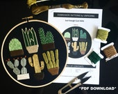 Embroidery Patterns by Unpicking / Just Enough Cacti MINI / PDF Digital Download / Craft Handmade Art Sewing Decor