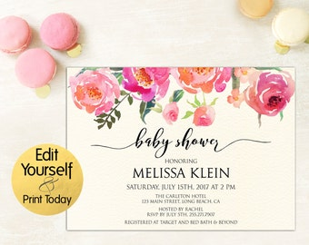 Baby Shower Invitation Template, Floral Baby Shower Invitation, Baby Shower Invitation, Baby Shower Editable, Editable Baby Shower Invitate