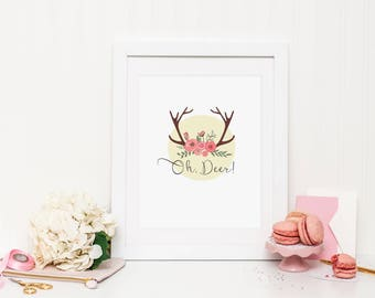 Oh, Deer (girl) A4 Wall Print ***DIGITAL PRINT***