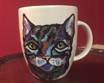 Small Gray Tabby Cat Mug, hand painted glassware by Ana Peralta