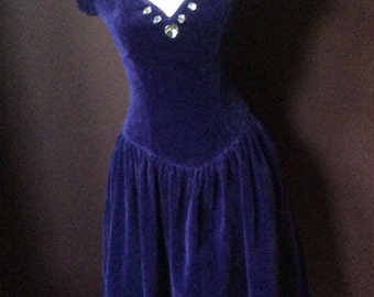 1980's Rich Purple Velvet Jewelled Dress