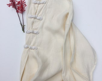 Cream Linen Knot Button Tunic Top