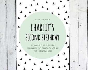 Second Birthday Invitation, Boy, Birthday Invitation, Geometric, Mint, Black, Triangle, Blue, Modern, Printable, Printed