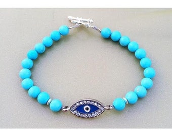 Light Blue Evil Eye Beaded Bracelet