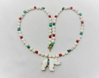"""Fetish Bear Necklace, Carved Alabaster Necklace, Genuine Turquoise, Howlitie, Turquoise, Coral Beads, 20"""" Necklace #N5A"""