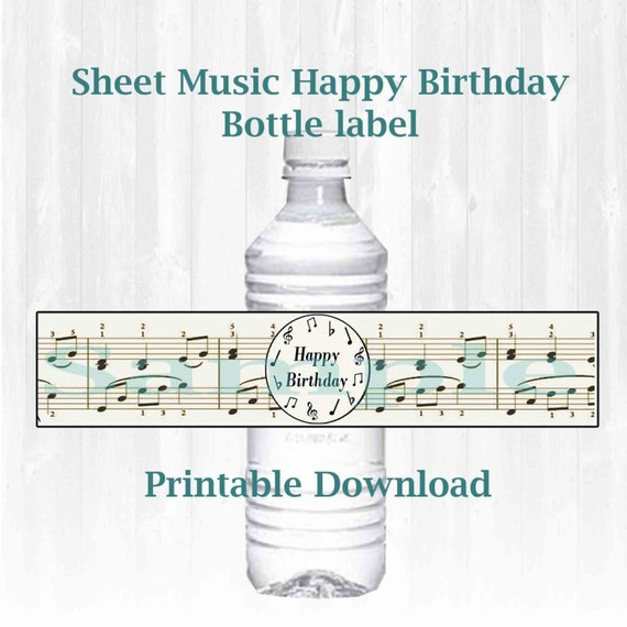 Musical Note Themed Water Bottle Labels Happy Birthday
