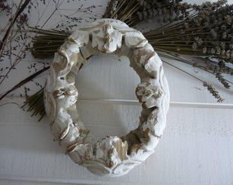 Antique French terra cotta wreath center table fronton pediment architectural ornament frame pottery