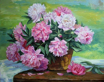 Original oil paint Oil painting flowers Bouquet white pink Bright flowers painting Peony Floral still life basket Сanvas wooden stretcher