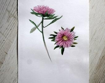 Original flower watercolor painting Floral Watercolor Painting Botanical illustration watercolor aster Home decor painting Art Flower paint