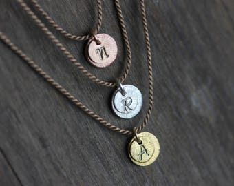 Tiny Initial Necklace, Silk Cord, Double Disc, Sterling Silver, Gold Filled, Rose Gold