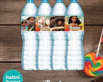 Moana Digital agua etiquetas, archivos imprimibles de Moana, Moana  cumpleaños decoración, instant download, DIY, fiesta de Moana, Vaiana