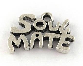 10 Antique Silver Soul Mate Charm Pendants 12 x 17mm (B177i)