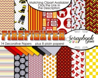 "FIREFIGHTER Digital Papers, 22 Pieces, 12"" x 12"", High Quality JPEGs, Instant Download Commercial Scrapbook fire flame dalmation hose engine"