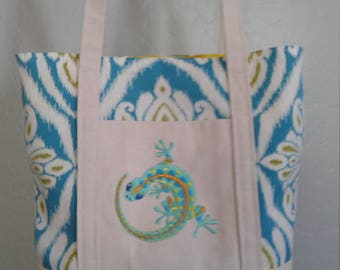 Handmade Embroidered Tote Bag,  Gecko, One of a Kind Tote, Book Bag, Kindle Bag, iPad Bag, Embroidered Tote,Embroidered Gecko,Caribbean Tote