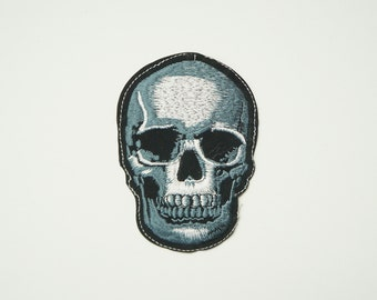 """ON SALE 4.15""""X1.9"""" SKULL Motorcycle Rock Punk Embroidered Sew Iron on Patch Applique"""