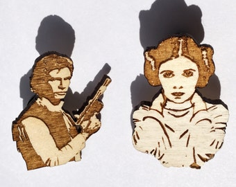 Han Solo and Princess Leia I Love You I Know Hand-Painted Star Wars Pin Set, Carrie Fisher and Harrison Ford Rebel Alliance Wood Brooch