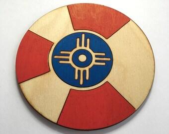 Wichita Flag Coaster Set of 4, Hand-Painted Tribal Coasters